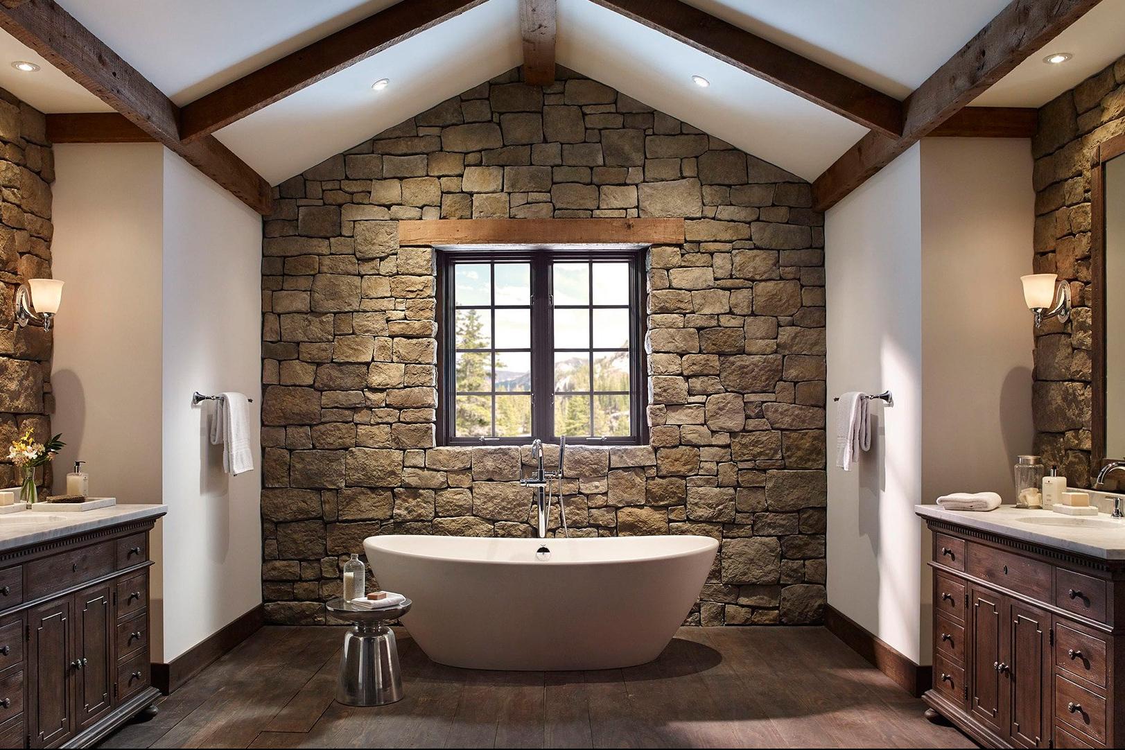 7 Desain Kamar Mandi Batu Alam Kesan Naturalnya Bikin Rileks